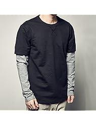 Calles de empalme camisas de cuello alto de color sólido versátil falso dos piezas manga larga camiseta de los hombres al final de la marea,2XL