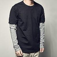 RIVI Calles de Empalme Camisas de Cuello Alto de Color sólido versátil Falso Dos Piezas Manga Larga Camiseta de los Hombres al Final de la Marea,2XL