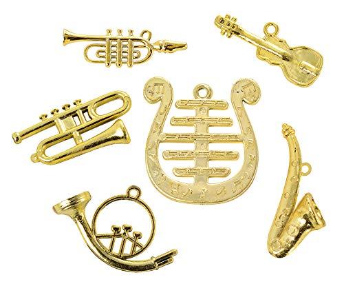 Musikinstrumente-Set, Miniaturen, 6tlg, Maße von ca. 1,5-4,5 cm