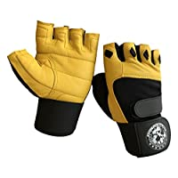 Nibra Gym Wear USA Gym Gloves Beige/Black with 12 inch Wrist Support for Man & Women, Padded Workout Crossfit, Weightlifting,Biking. (Small)