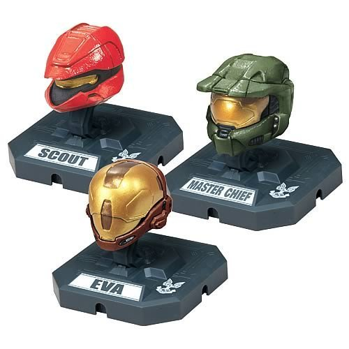 McFarlane Toys Action Figures - Halo 3 Helmet 3-Pack Wave 2 - SCOUT (Red), MASTER CHIEF (Olive), EVA by Unknown