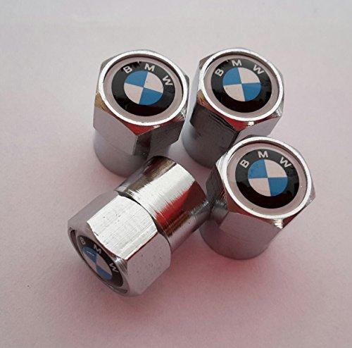 4-teiliges Set blau-weiße Ventilkappen aus silbernem Chrom-Metall  für BMW, Zubehör Autoreifen (Chrom Ventilkappen)