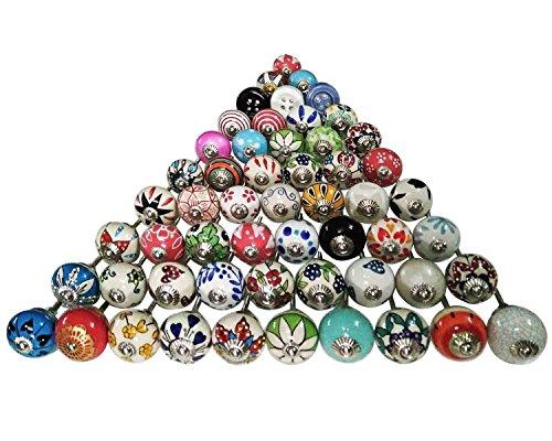 Verschiedene Mehrfarben Keramik Schubladen Knöpfe Türschrank Pulls Indian Mix Knöpfe