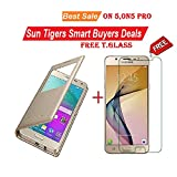 Sun Tigers (COMBO OFFER)Window Leather For samsung on5 pro with Free Tempered Glass Screen Protector(GOLD)