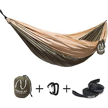 Travelax Premium Set leichte Outdoor-Hängematte für die Reise inkl Befestigung, 2,60 x 1,40 m, Reise-Hängematte, Camping-Hängematte