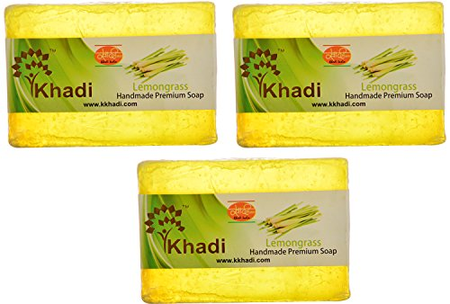 Khadi Lemongrass Handmade Premium Soap, 125 g (Pack of 3)  available at amazon for Rs.182