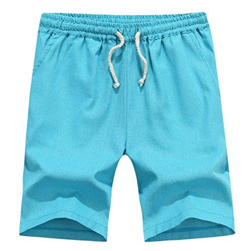 Men's Summer Cotton Plus Solid Beach Shorts blue