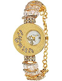RIDIQA Analog Crystal Studded Golden Dial Stainless Steel Golden Wrist Watch For_Girls, Women-RD-033