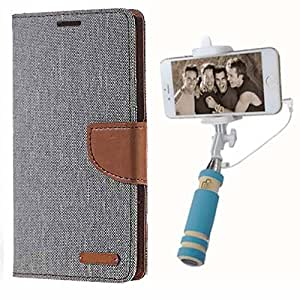 Aart Fancy Wallet Dairy Jeans Flip Case Cover for MotorolaMotoE (Grey) + Mini Fashionable Selfie Stick Compatible for all Mobiles Phones By Aart Store