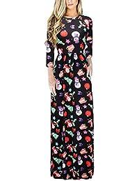 Donna Vestiti da Sera Lungo per Natale Stampati Eleganti Vestitini da  Giorno E Tasche Vacanza Partito Festa Abito… d52733595695