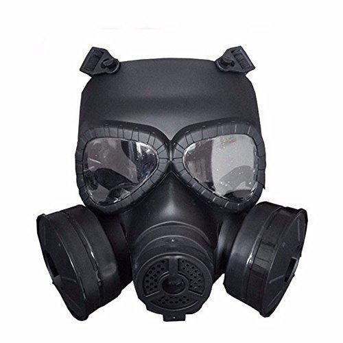 M04Airsoft Taktische Schutzmaske, Full Face Eye Schutz Skull Schnuller giftigen Gas Maske mit verstellbarer Gurt für BB Gun CS Cosplay Kostüm Halloween Masquerade (keine Batterien), schwarz (Airsoft Schutzbrille-fan)