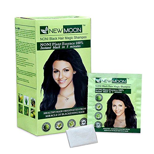 New Moon Noni Hair Magic Dying Shampoo for Men & Women - Ammonia Free Natural Black Hair Dye - Instant 5 Minutes Herbal Hair Color Shampoo for Smooth Hair - 10 pcs of 15 ml