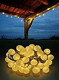 LED Lichterkette Bunt oder Warmweiß Partylichterkette LEDs stabile Kugeln IP44, Farbe:Warmweiß;Länge:10 m