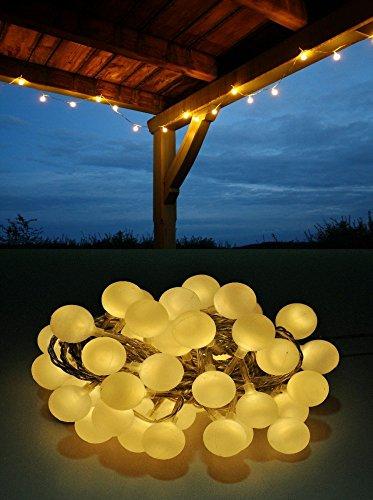 LED Lichterkette Bunt oder Warmweiß Partylichterkette LEDs stabile Kugeln IP44, Farbe:Warmweiß;Länge:12 m
