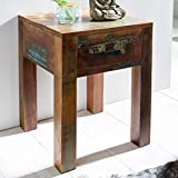 FineBuy Nachttisch KALKUTTA 40 x 40 x 55 cm | Mango Massivholz Nachtkästchen mit Schublade | Kleiner Beistelltisch Shabby Chic | Wohnzimmertisch | Nachtkonsole