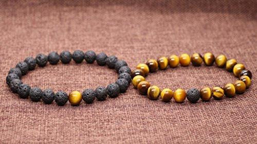 COAI® Geschenkideen Glücksarmband aus Vulkanstein und Gelbem Tigerauge ein Paar Partner Armbänder