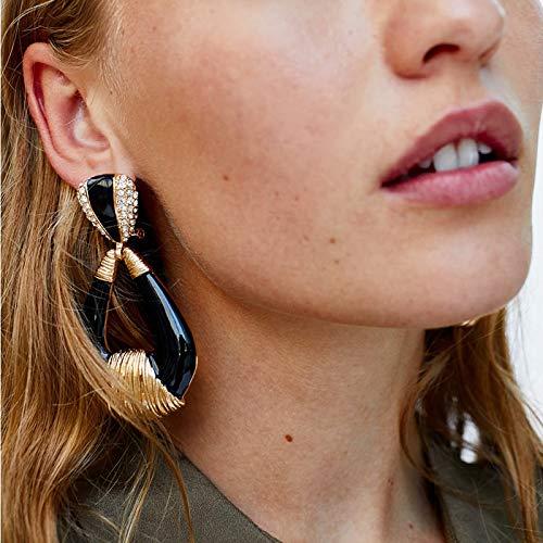 Maybesky Geometrische Legierung Drop Ohrringe für Frauen Mädchen Elegant (Farbe : Schwarz) -