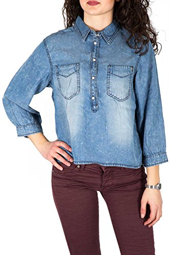 ONLY - Femme chemise loose fit nori cropped denim shirt Medium Blue Denim