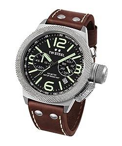 TW Steel Canteen Unisex de piel reloj de cuarzo con negro Esfera Analógica y Correa de piel color marrón