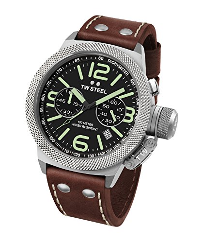 £121.96 Hot TW Steel Canteen Leather Unisex Quartz Watch with Black Dial Analogue Display and Brown Leather Strap