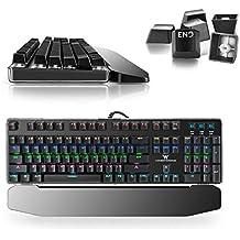 Combaterwing Teclado Gaming Mecánico con Cable de 104 Teclas con Retroiluminación RGB y Switches Blue(Negro)