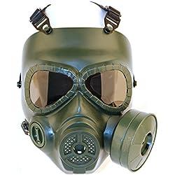 FOJMAI CS Juego Airsoft Paintball Protección Gear Dummy Anti Niebla Gas Tactical Máscara con Ventilador, OD Verde