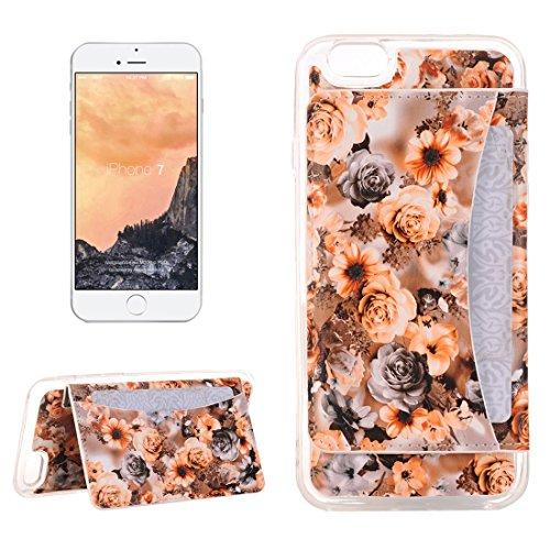 Für iPhone 7 Rose Print Pattern Flexible Card Slots Leder Cover Case mit Halter & Card Slots & Brieftasche, Kleine Menge Empfohlen vor iPhone 7 Starten by diebelleu ( Color : Orange ) Orange