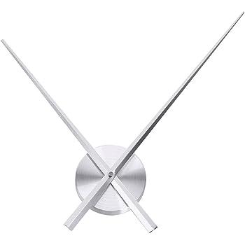 Uniquebella Pendule Murale 2 Grandes Aiguilles Horloge à Quartz Mécanisme Sans Cadran-L, Argenté