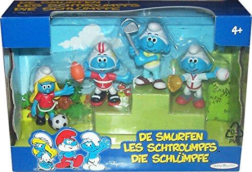 DIE SCHLÜMPFE Kunststoff Figuren Special Gift-Packs: Sport-Pack (Fußball, Football, Golf & Baseball) -