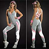GoolRC Women Sport Yoga Set Contrast Color Bandage Backless Sleeveless Fitness Jumpsuits Gym Running Bodysuits Workout Suit G