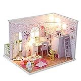 Yangxuelian Puppenhaus Miniatur DIY Haus Kit Kreative Zimmer Mit Möbel Und Abdeckung Für Romantische Valentinstag Festival (Color : Multi-Colored, Size : 24 * 21 * 18cm)