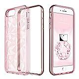 BENTOBEN Funda iPhone 6 Plus, Carcasa iPhone 6s Plus, Capa Case Cover TPU Suave y Anti-rasguños Transparente 3D Modelo Geométrico de Diamante con Textura Funda para iPhone 6 Plus/6S Plus, Rosa Oro