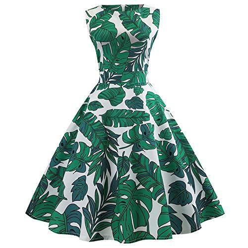 Xmiral Damen Kleid Polyester-Weinlese-Sleeveless O-Ansatz-Abend-Druck-Partei-Elegantes...