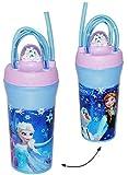 alles-meine.de GmbH Trinkbecher / Trinkflasche - mit gedrehten Strohhalm & Deckel -  Disney die Eiskönigin - Frozen  - 350 ml - Becher / Sommerglas - Trinklernbecher - Plastikb..