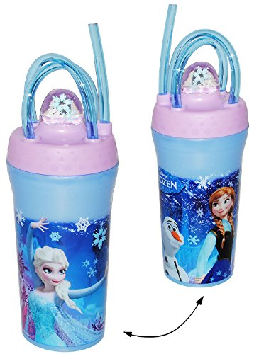"""Trinkbecher / Trinkflasche - mit gedrehten Strohhalm & Deckel - """" Disney die Eiskönigin - Frozen """" - 350 ml - Becher / Sommerglas - Trinklernbecher - Plastikbecher - z.B. Limonade Erfrischung Sommer - Smoothie Becher Trinkglas Trinkflasche - Trinkgläser Einmachglas / Einweckglas - Kinder - Mädchen & Jungen - Glasbecher - völlig unverfroren Prinzessin Elsa Anna Arendelle - Olaf"""
