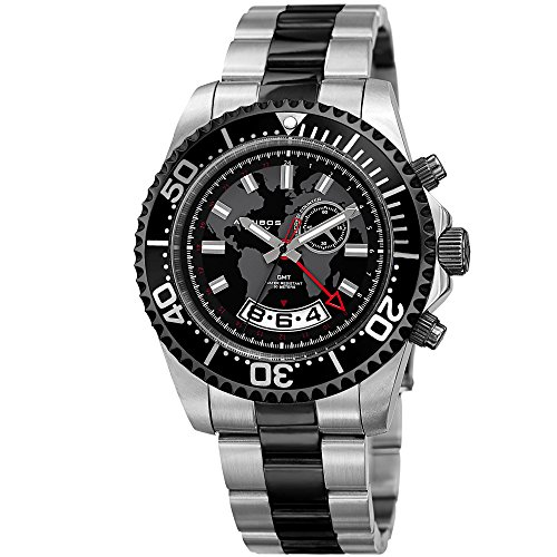 Akribos XXIV Homme Diver–Montre Multifonctions Rétrograde Date et Secondes, GMT–Argent et Noir Bracelet en Acier Inoxydable Montre-Bracelet avec Cadran Noir et Cadre–Ak955ttb