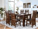 massivum Esstisch 150x90 mit Ansteckplatten + 6 Stühle Suma kolonial, Holz, 90 x 150 x 75 cm