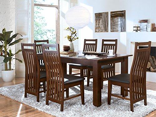 Massivum Bologna Set Esstisch 150x90 mit Ansteckplatten + 6 Stühle, Holz-Rubberwood, kolonial