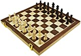 Shine 3 IN 1 Natural Wooden Folding Chess/Checkers/Backgammon Game with Staunton Pieces