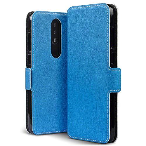 TERRAPIN, Kompatibel mit Nokia 5.1 Plus Hülle, Leder Tasche Case Hülle im Bookstyle mit Standfunktion Kartenfächer - Hellblau