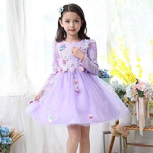 Plus Kostüm Prinzessin - QTONGZHUANG Perlen Kleid Prinzessin Plus Samt dreidimensionale Blumenkleid Flauschige Kleid Kostüm Brautkleid, Plus Samt, 140cm