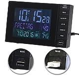infactory DCF Uhr: Funkwecker mit Temperatur-Anzeige, USB-Ladestation (2 A), 2 Weckzeiten (Funk Wecker mit 2 Weckzeiten)