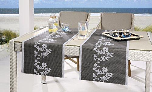 """Stilvolle OUTDOOR - SERIE """" AMAZING SUNRISE """" - der perfekte Blickfang für drinnen und draußen - geeignet für Haus, Terrasse, Balkon und Garten - ABWASCHBAR - WIND- und WETTERFEST - RUTSCHFEST - geprüfte Qualität nach Öko - Tex Standard 100 - aus dem KAMACA-SHOP - hier in der Farbe : Tischläufer 40 x 150 cm, Anthrazit - Silber"""