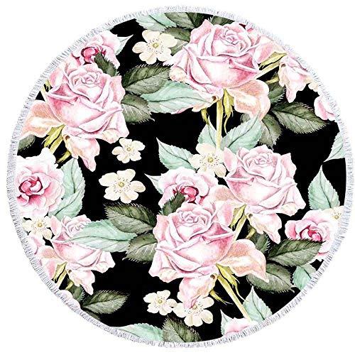 GOLDT1 Kokospalme Blume gedruckt Runde Badetuch mit Quaste Mikrofaser Yoga Matte Picknickdecke 59 Zoll Dickes Handtuch Home Decor Teppich (Color : 8, Size : 150CM) (Shampooer Home-teppich)