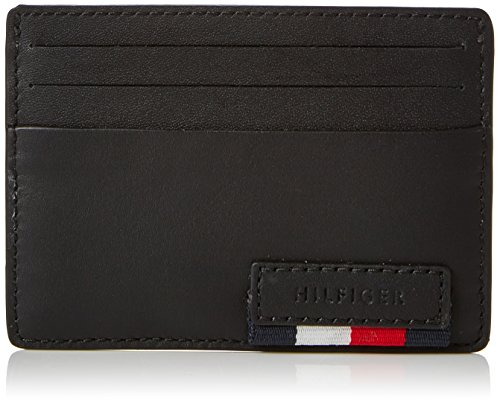 Tommy Hilfiger Branded Leather Cc Holder, Porte-cartes d'identité (Card Cases) homme, Noir (Black), 7x1x10 cm (B x H T)