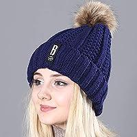 HAOLIEQUAN Verdickte Pom Poms Wintermütze Für Frauen Mode Solide Warme Hüte Gestrickte Mützen Cap Dicke Weibliche Kappe