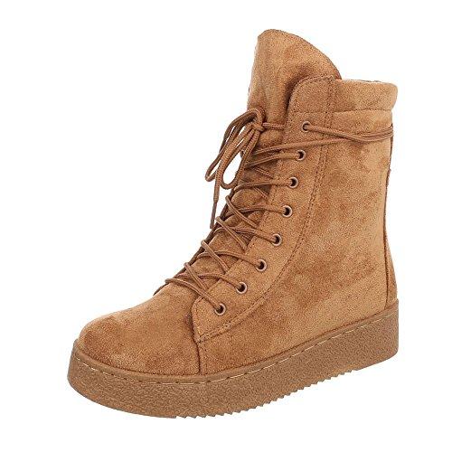 Ital-Design Schnürstiefeletten Damen-Schuhe Klassischer Stiefel Schnürer Schnürsenkel Stiefeletten Camel, Gr 38, Bb2027-Kb- (Flache Camel Damen Stiefel)