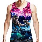 Idgreatim Herren-Freizeit-T-Shirt, 3D-Druck, Muster, Trägerhemd, Top, Ärmellos, T-Shirt Gr. X-Large, Dinosaurier