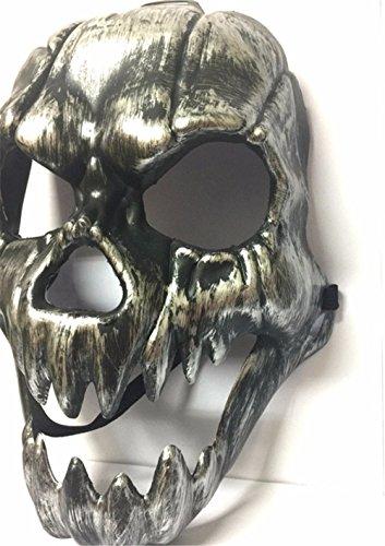 Masken Gesichtsmaske Gesichtsschutz Domino falsche Front Halloween Horror Maske Schädel Kopf Geisterfest Universal PVC Vollgesicht Kunststoff Retro große Zahnmaske Retro-Silber (Gesicht Bemalen Für Halloween-schädel)