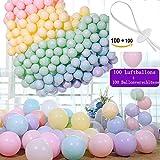 Luftballons, Ballonverschlüsse 100 Stück + Macaron Luftballon100 Stück , Partyballon, Farbige Ballons,Ballonband mit Schnellverschluss,Ballonverschluss Helium und Luftbefüllung (100 Farbe+100 Zubehör)